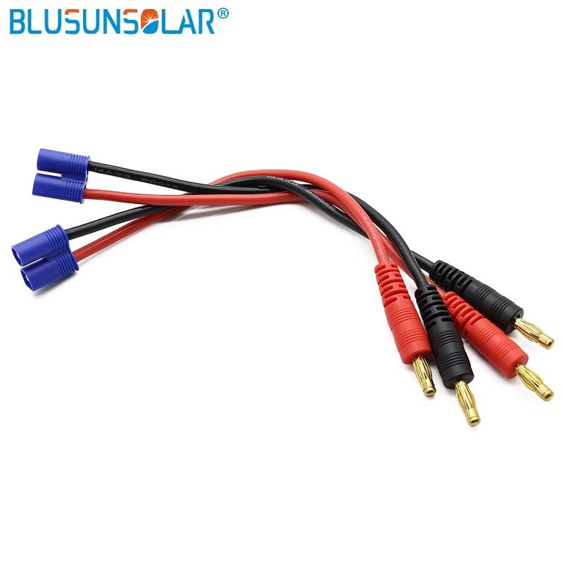 20 unids/lote EC3 de 4mm a banana conector bala macho con 14 AWG y 150 MM de cable para DIY de la batería Lipo RC fuente de alimentación