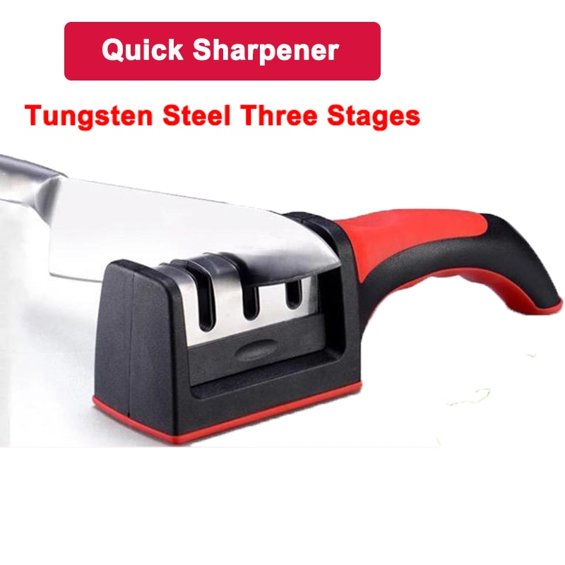 Dropshipping afilador de cuchillos profesional diamante 3 etapas tungsteno acero carburo cerámica cuchillo afilar herramientas de cocina rojo