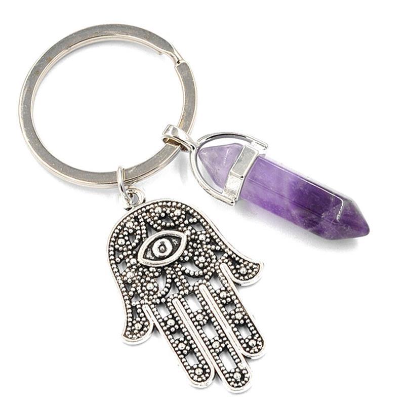 2017 nova moda natural pedra antigo símbolo mal olho fátima mão pingente chaveiro bolsa chave do carro anéis titular