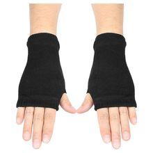Gants noirs en coton peigné élastique   Pour femmes