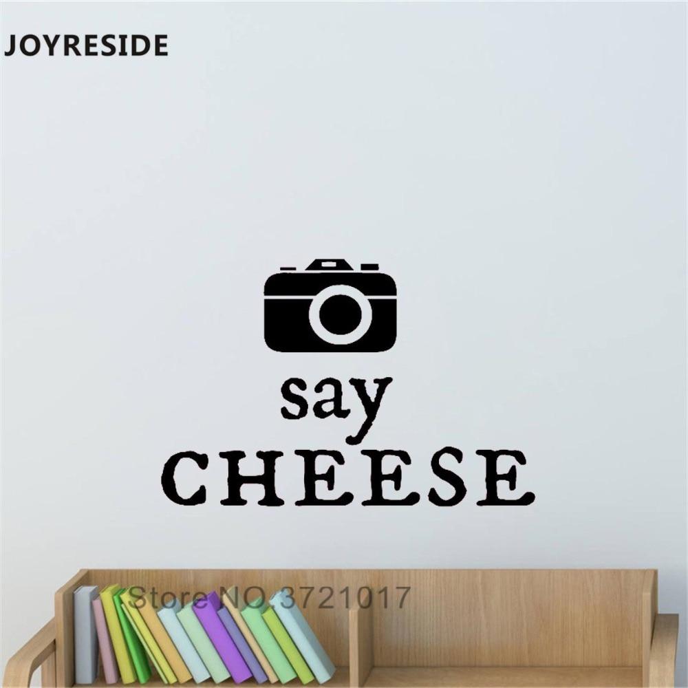 JOYRESIDE Cámara foto pared calcomanía decir queso pared pegatina Tomar foto vinilo decoración de Living de hogar Interior diseño A919