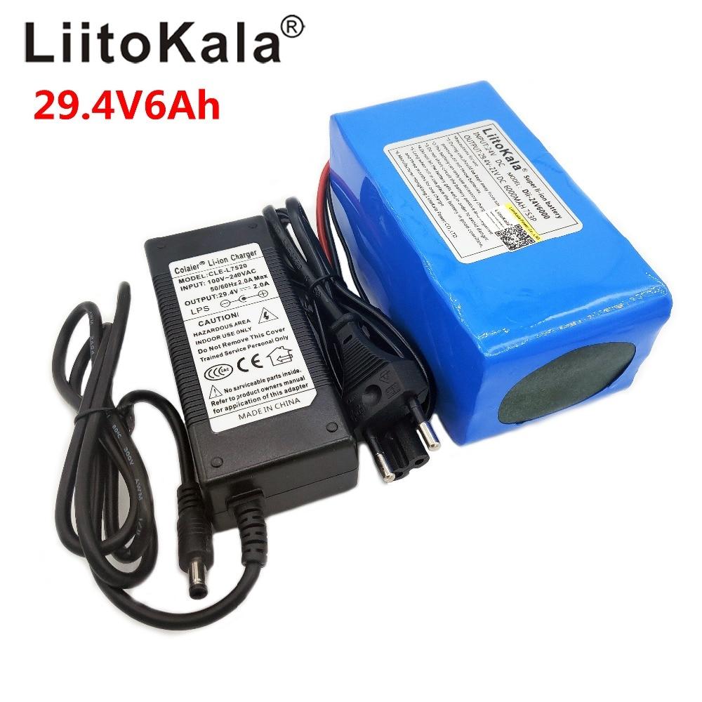 LiitoKala 24V 6Ah 7S3P 18650 بطارية أيون الليثيوم 29.4V 6000mAh ل دراجة كهربائية