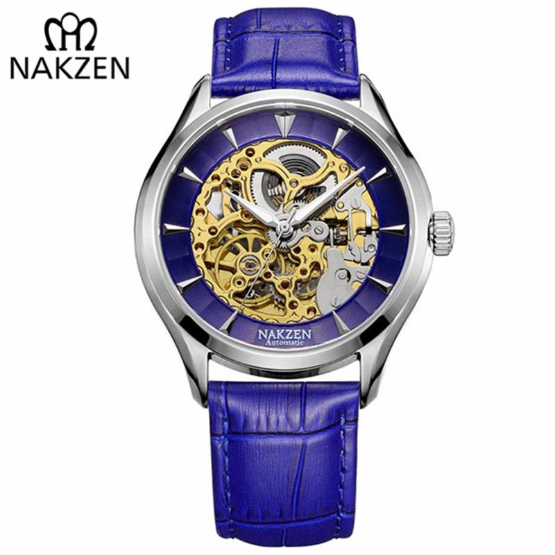 ناكزن-ساعات ميكانيكية أوتوماتيكية للرجال ، ساعة يد جلدية ذاتية الملء ، نقش مجوف ، بيع محدود