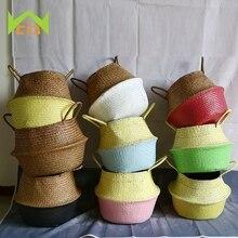 WHISM panier de rangement pour jouets   10 couleurs, panier à linge en osier tissé à la main dherbe de mer naturelle, paniers de rangement pliants