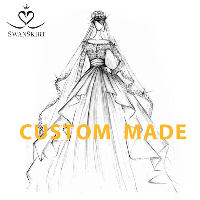 Swanskirt personalizado Natalia Catan Vestido de novia DZ Appliques tienda en línea china pelota personalizada Vestido de talla grande Vestido de novia