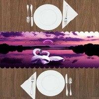 Else Purple Black Lake Landscape Moon Love White Swans 3d Print Pattern Modern Table Runner for Kitchen Dining Room Tablecloth