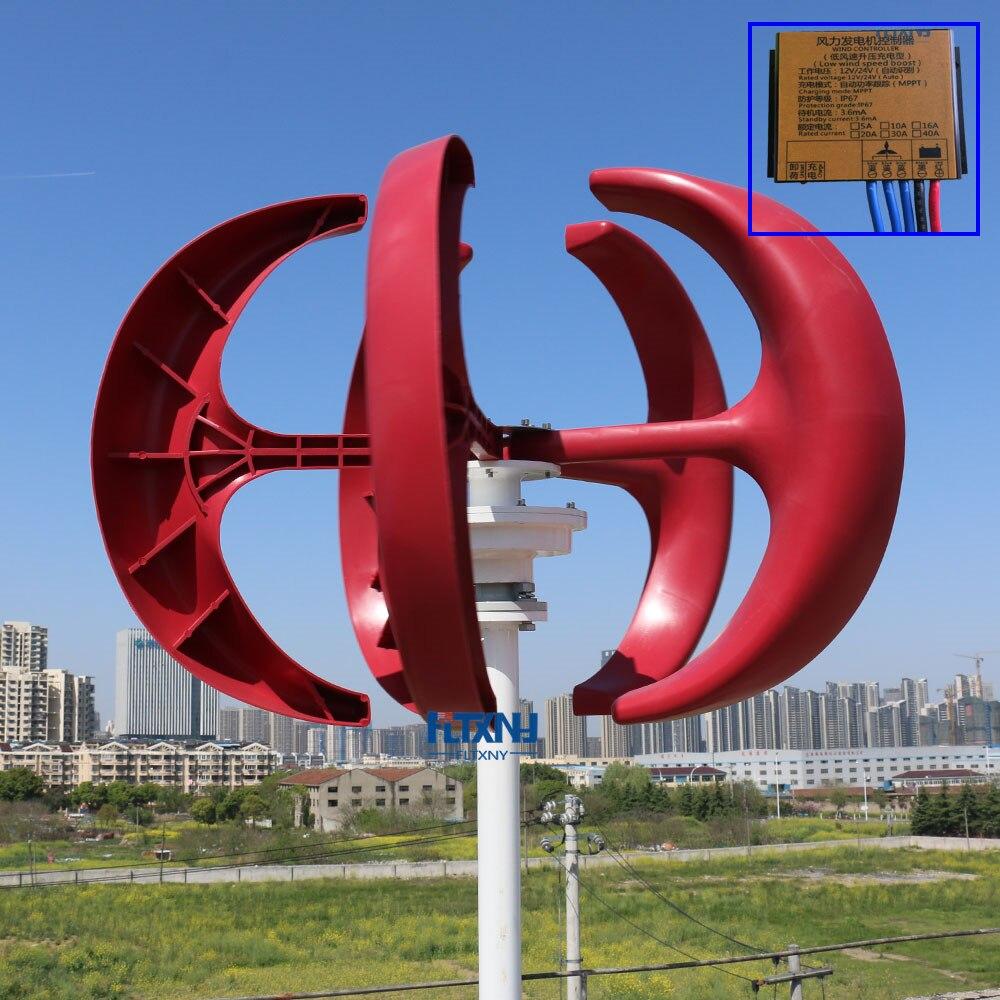 Turbina eólica barata de China, generador de molino vertical de 500w 12v/24v con regulador de carga MPPT bastante eficiente