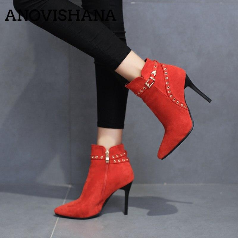 ANOVISHANA primavera otoño mujer tobillo Botas tacones finos zapatos de mujer zapatos del dedo del pie puntiagudo zapatos de invierno mujer damas botines Botas de B934