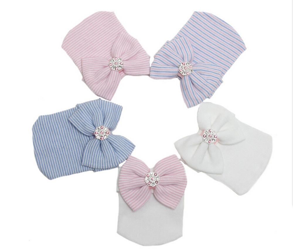 Lindo bebé recién nacido niñas niños niña niño cómodo Bowknot Hospital Cap Beanie sombrero fácil de usar o de