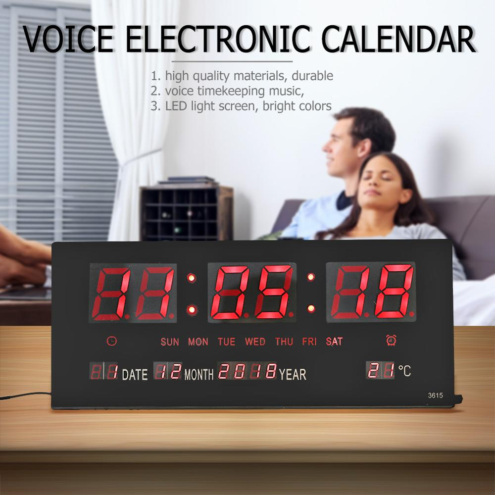 Reloj despertador con pantalla Digital USB de música de voz electrónica calendario perpetuo reloj despertador con enchufe europeo relojes de mesa grandes LED