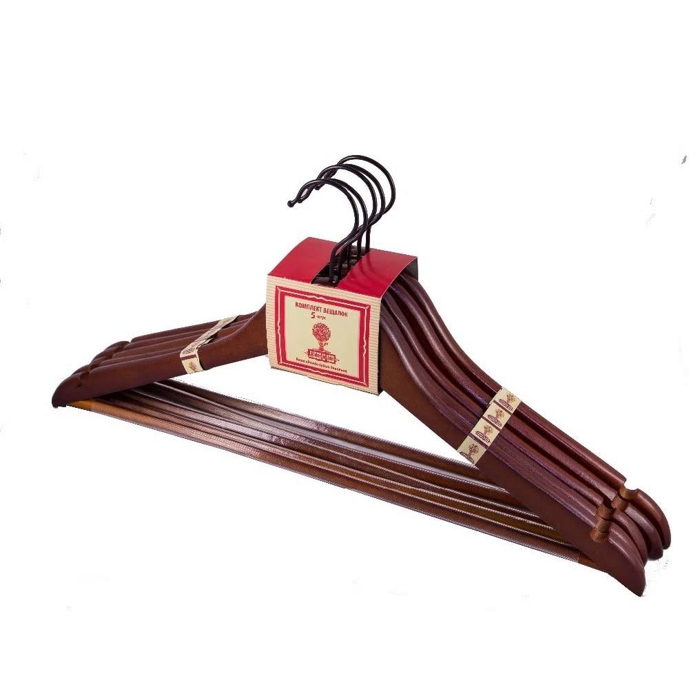 5 pièces dans un lot cintre en bois avec des supports de garde-robe antidérapants