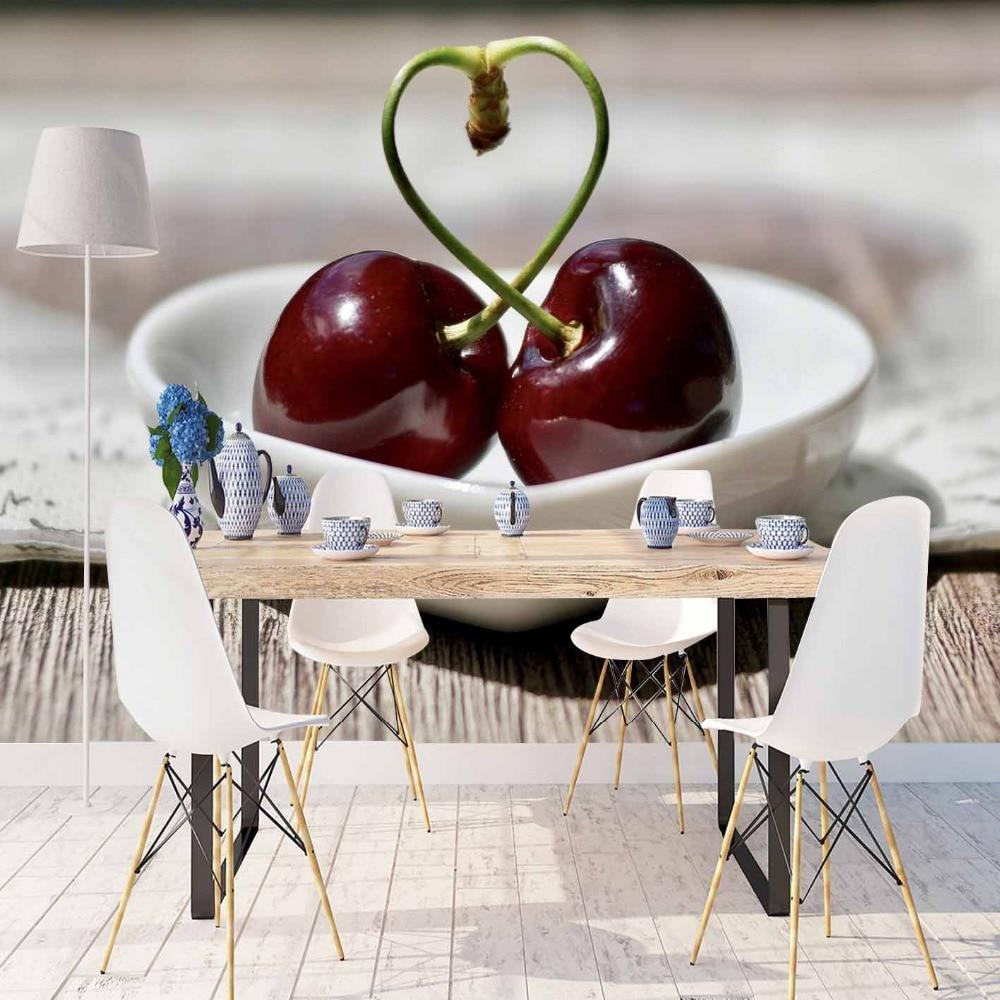 Fondos de pantalla de madera marrón, rojo, cereza, amor, placas, impresión 3d, foto, tela limpiable, Mural, decoración del hogar, papel tapiz de fondo de cocina