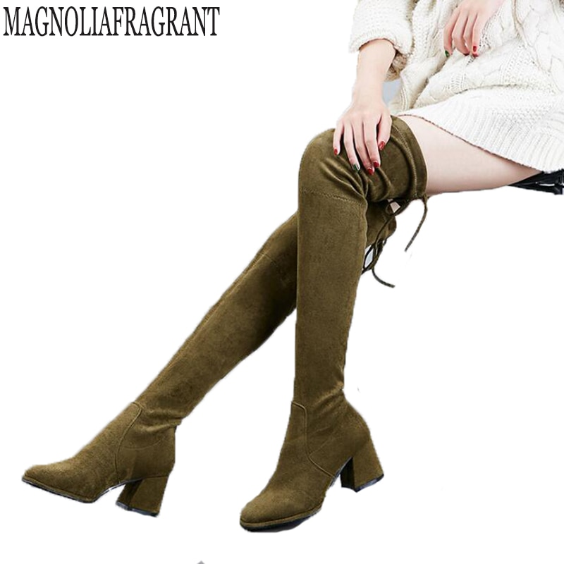 Las mujeres estiran Faux Suede muslo alto botas Sexy de moda sobre la rodilla tacones altos Mujer Zapatos elasticidad botas de mujer c184