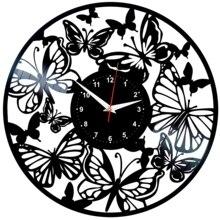Butterflies Wall Clock Vinyl Vinyl Record Retro Clock Handmade Vintage Gift Style Room Home Decorations Great Gift Clock