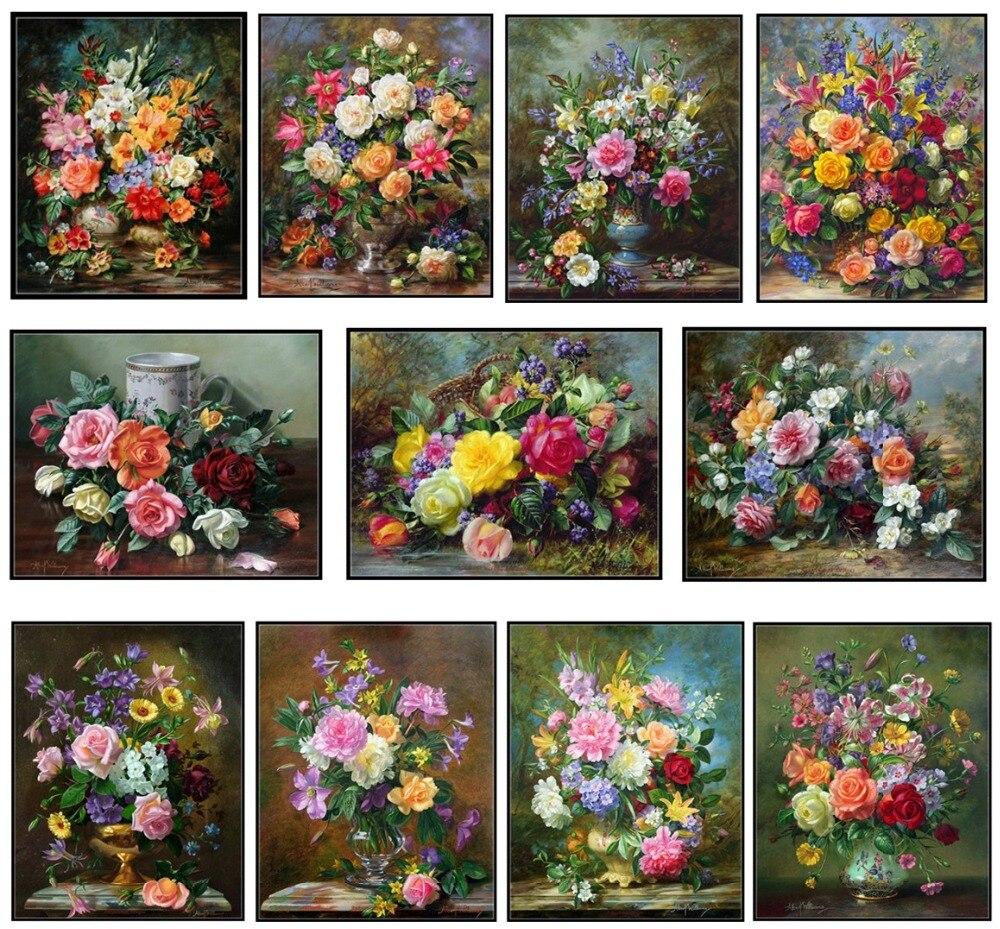 Kits de punto de cruz con cuentas bordadas, manualidades, 14 ct DMC, Color DIY, decoración artesanal de artes, flores de Albert palos