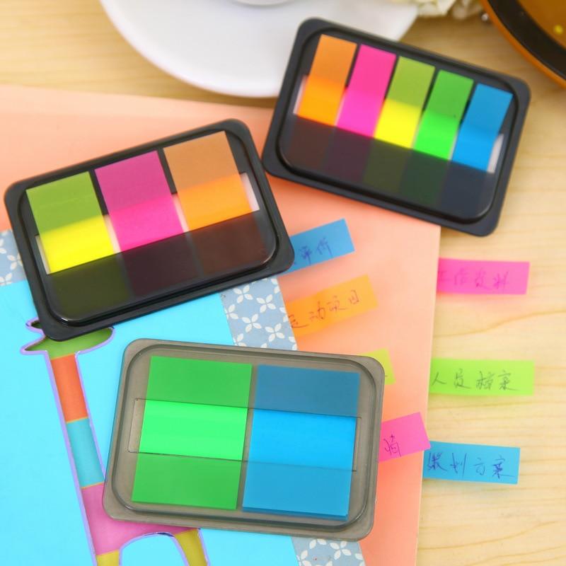 Bloc de notas autoadhesivo de color fluorescente, marcador de notas adhesivas, pegatina de recordatorio, papelería para oficina y escuela