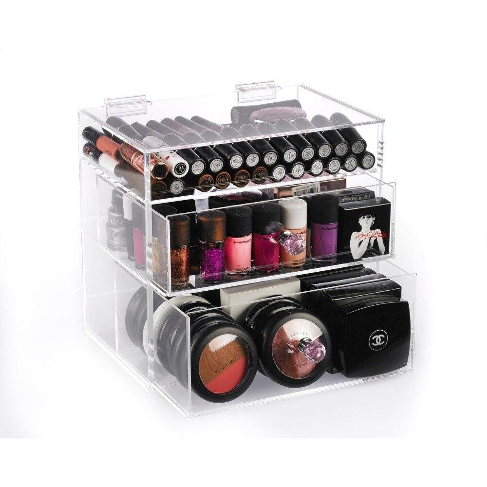 شفاف أكريليك مخزن للمكياج صندوق مع درج سطح المكتب تخزين منظم مكتب واضح يشكلون حامل لمستحضرات التجميل