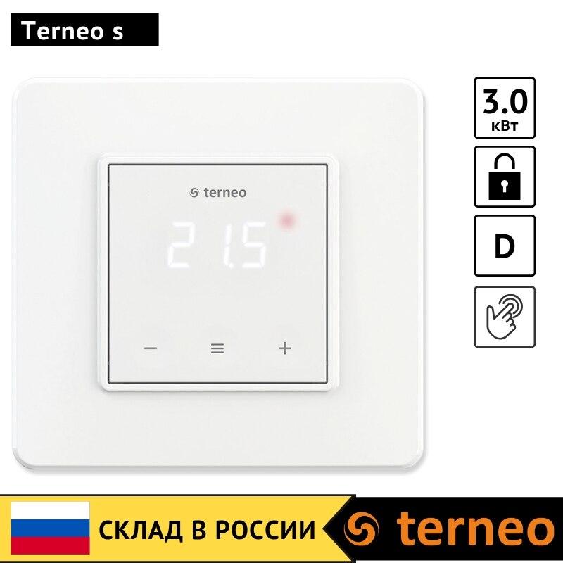 Terneo s - сенсорный электрический терморегулятор для отопления теплого пола и датчик температуры NTC Для инфракрасного пленочного, кабельного, пола Электронный регулятор тепла для дома 3 кВт