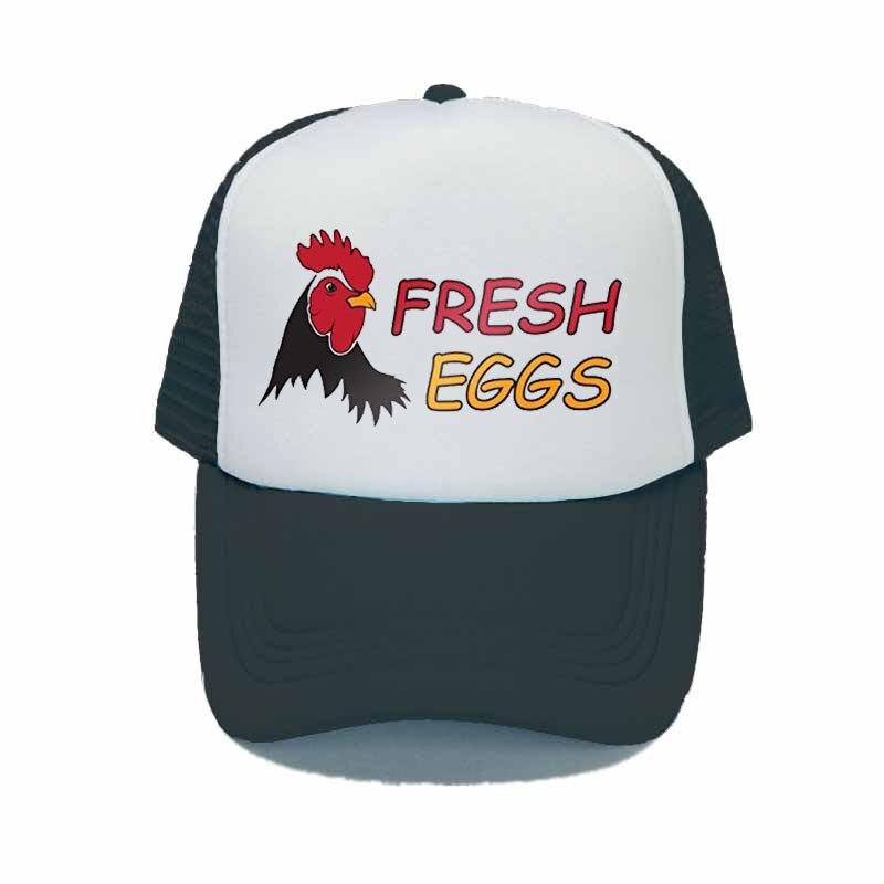 Anuncio huevos frescos gorra Snapback orgánica Granja Huevo camionero sombrero Animal gallina granja agricultor gorra para sol ajustable YY320