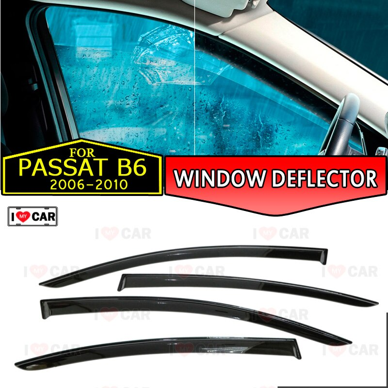 Defletores janela para Volkswagen Passat B6 Sedan 2006-2010 carro tampa do carro sol chuva viseira janela defletor guarda vento ventilação styling