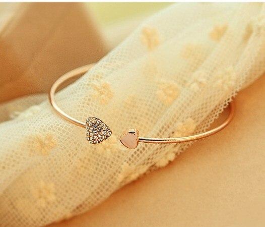 TANGYIN2018 charme nouvelle mode réglable Double coeur cristal amour ouverture Bracelet Bracelets en cristal Bracelets pour femmes cadeau