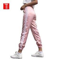 2018 primavera verão feminino cetim lazer calças casual multicolorido retro branco listrado lado fechado confortável sweatpants feminino