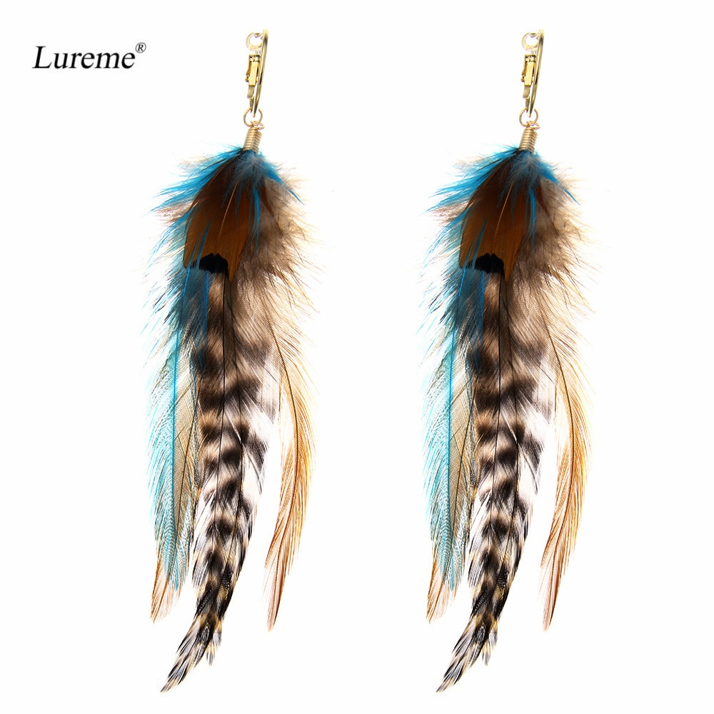 Lureme Indiana Style Jewelry Multicolor Handmade Natural Feather Dangle Earrings for Women (er005514)