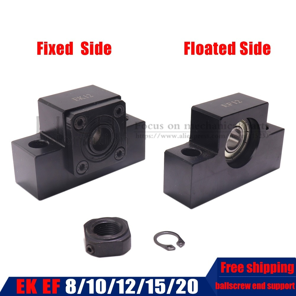Envío Gratis soporte de husillo de bolas unidad EK serie EF EK8 EF8 EK10 EF10 EK12 EF12 EK15 EF15 EK20 EF20 para SFU1204 SFU1605