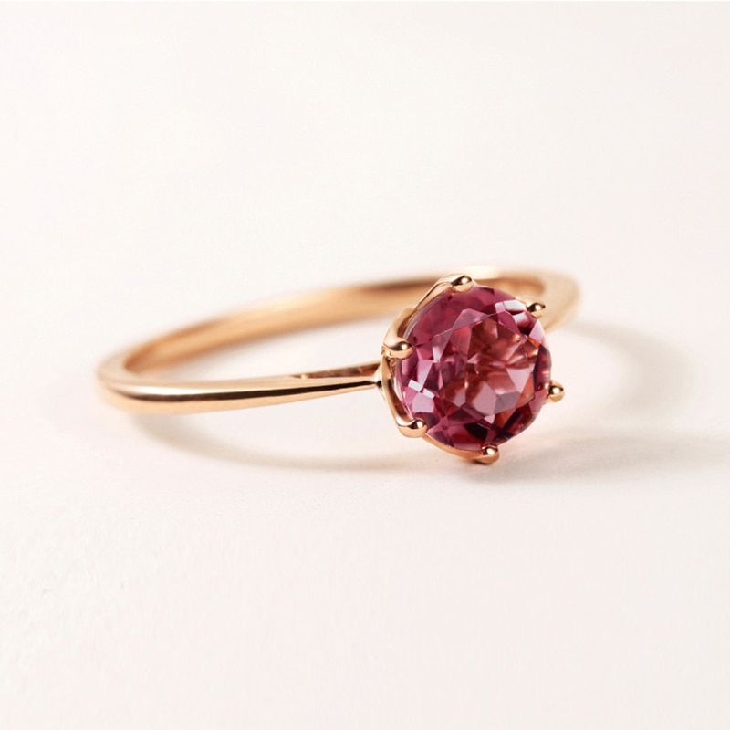 Buyee, anillos de boda de oro rosa para mujer, de 8mm piedra redonda, seis garras de lujo clásicas, anillo Chapado en plata 925 para mujer, joyería de moda
