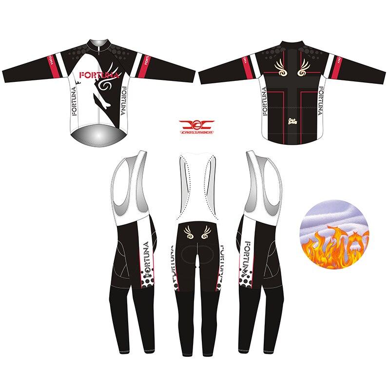 2019 negro Fortuna invierno largo hombre polar ciclismo Jersey bicicleta uniforme MTB ropa de bicicleta ropa para ciclismo