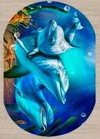 Else Blue Under Sea Swimming Dolphins 3d Pattern Print Non Slip Microfiber Living Room Modern Oval Washable Area Rug Carpet