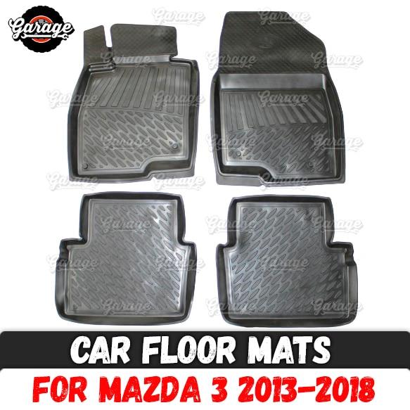 Car floor mats case for Mazda 3 2013-2018 rubber 1 set / 4 pcs or 2 pcs accessories protect of carpet decoration
