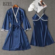 BZEL Hot Sales Summer Women Nightgown Sets Sexy Gallus Ladies Pajamas Cosy Satin 2pcs/set Lingerie Kawaii Solid Nightwear Famme