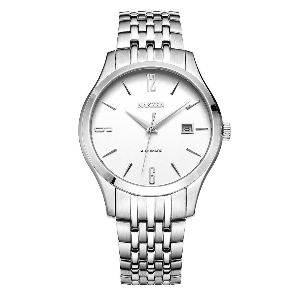 Reloj Mecánico NAKZEN de negocios automático Miyota 8215, Reloj clásico de lujo de marca, reloj de pulsera con correa de acero, reloj Masculino