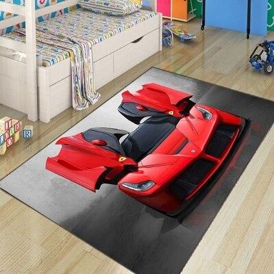 Mais vermelho esporte carro de corrida meninos 3d padrão impressão não deslizamento microfibra crianças sala crianças área decorativa tapete jogo