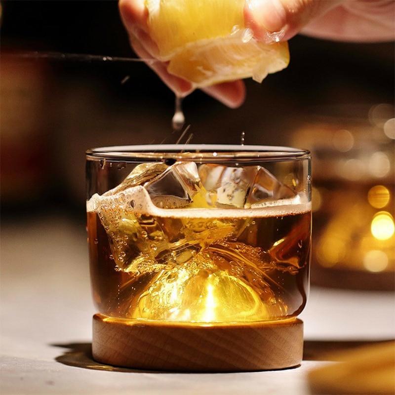 Copa de Whisky de cristal de estilo japonés, diseño creativo, Volcán Hill, con Stock de madera, Bar, copas de vino para el hogar, Copas de licor de vino   Collins