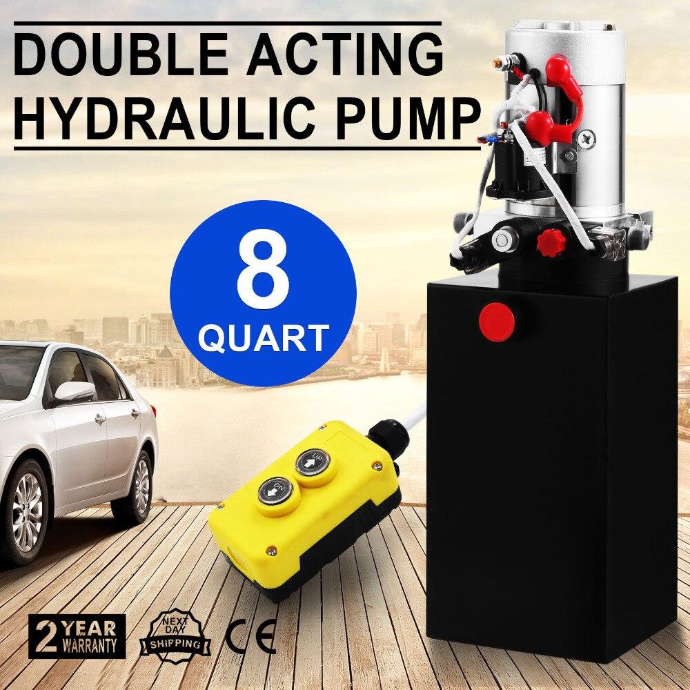 8 Quart Double Acting Hydraulic Pump 12V Dump Trailer Metal Reservoir For Dump Trailer