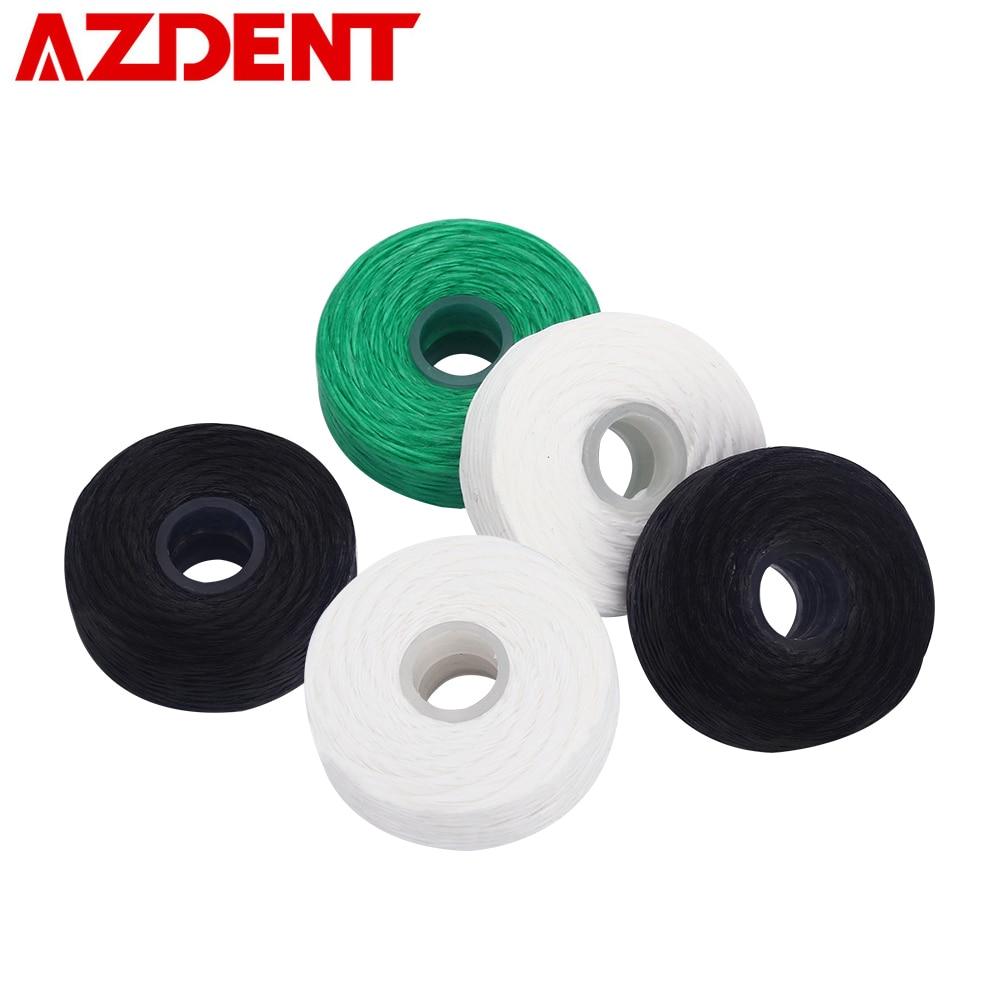 AZDENT 5 Rolls Bamboo Charcoal Dental Flosser 50M Wax Mint Flavored Nylon Line Built-in Spool Toothpicks Stick Interdental Brush