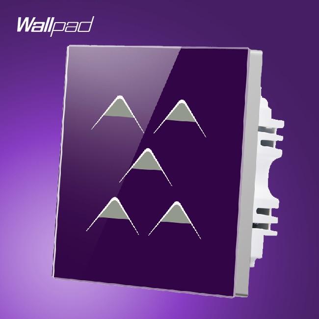 Waterproof Wallpad UK 110V-250V 5 Gang 1 Way 5 Buttons Purple Crystal Glass Touch Wall Panel Sensor Switch 220V, Free Shipping