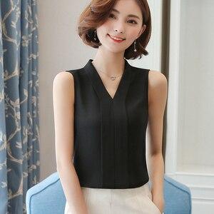 Женская шифоновая рубашка с V-образным вырезом, без рукавов