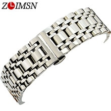 ZLIMSN High Quality Hidden Clasp Watchband 16 18 20 22mm 316L Stainless Steel Watch Band Men Silver Bracelet Replacement Link