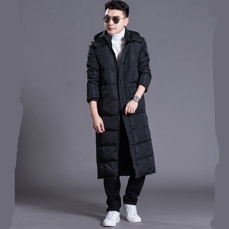 Hooded Extra Long 90% Duck Down Overcoat Men Casual Winter Outwear Down Jacket Male Thick Down Coat Fashion Puffer Jacket JK-785 large real fur collar women winter coat thick warm hooded down jacket duck down loose long outwear coat outdoors