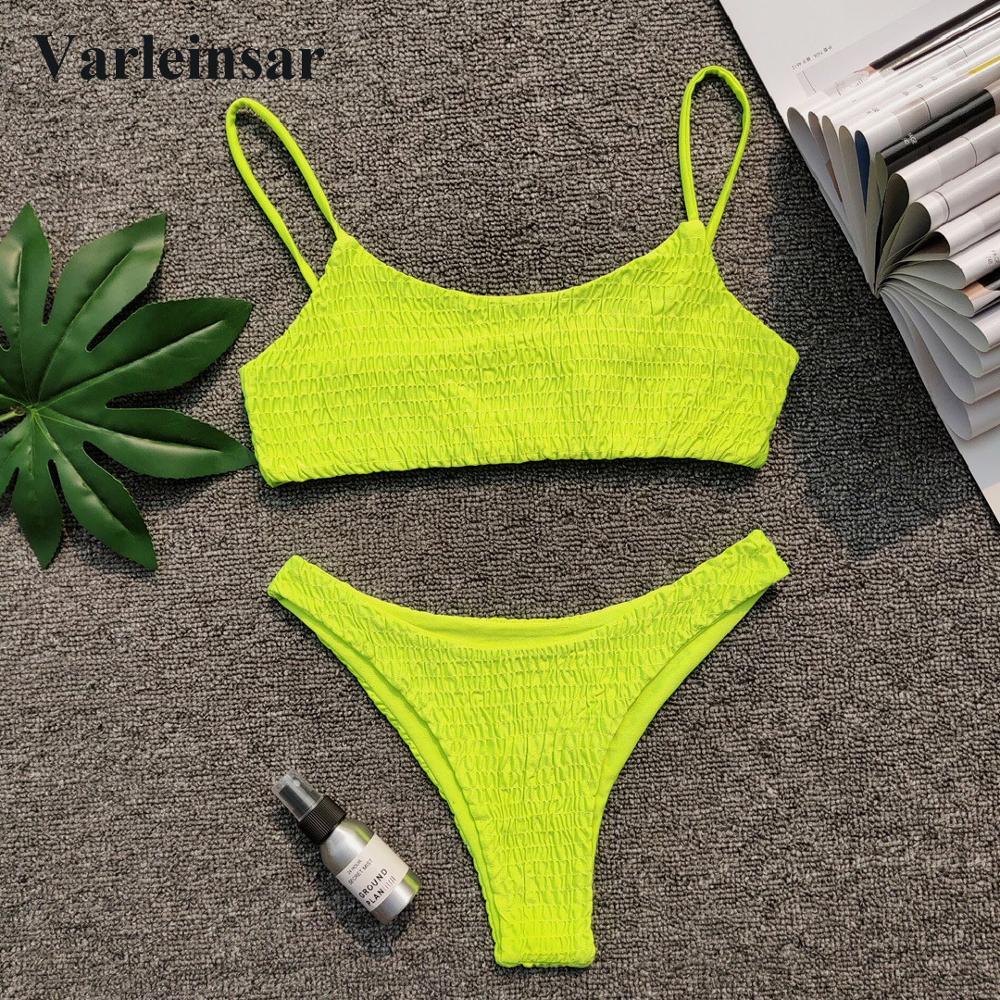 New Sexy Neon Green Wrinkled Bikini 2019 Female Swimsuit Women Swimwear Two-pieces Bikini set Bather Bathing Suit Swim V713G