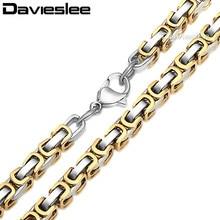 Davieslee byzantin boîte lien hommes collier en acier inoxydable chaîne or argent couleur gros bijoux 5mm LKNM15
