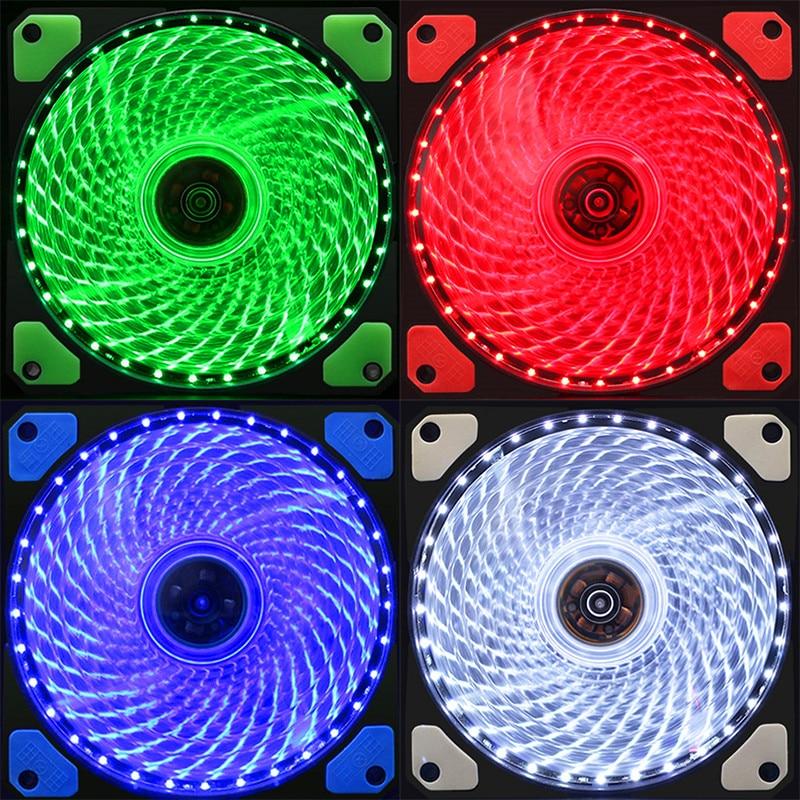Refrigeração a água 33 & 15 LEVOU Ventilador Do Chassi Do Computador 12 cm 12025 LED Fio de Cobre de Luz Ultra-Baixa Vibração ruído Ultra-Silencioso Ventilador De Refrigeração