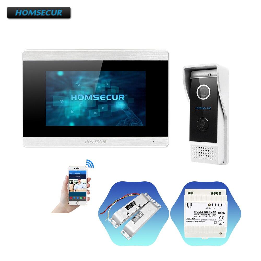 """Homsecur 7 """"ip com fio de vídeo porta entrada telefone sistema de chamada com gravação & snapshot gota parafuso bloqueio incluído para segurança em casa"""