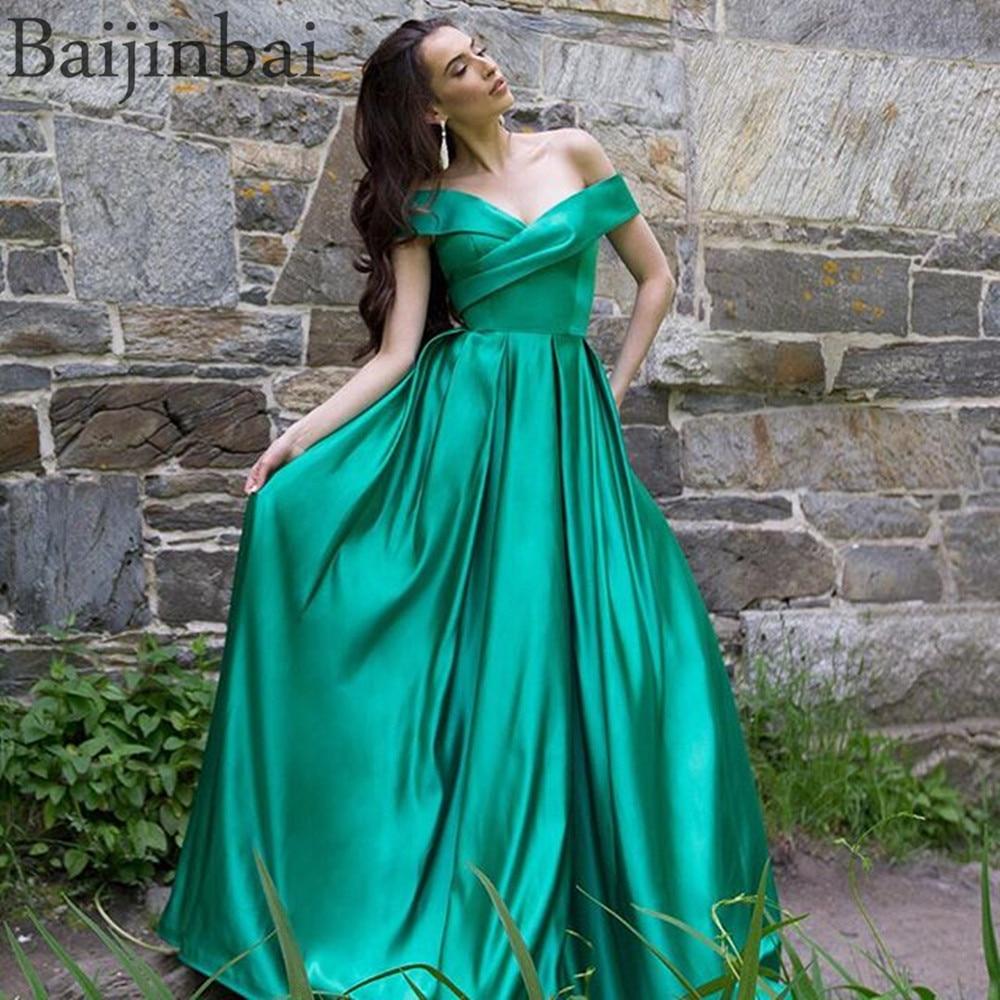 Baijinbai Wrap Off Shoulder Ball Gown Prom Dresses Satin Evening Pageant Gowns Vestido de Festa Party Long Dress with Pockets