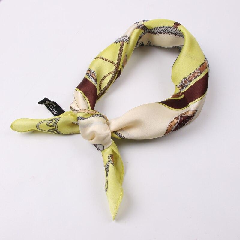 Luna & Dolphin Frauen Seide Quadrat Schals 50x50 cm Apfel Grün Kette Druck Bandanas Frauen Frische Stil Stirnbänder schal Armband
