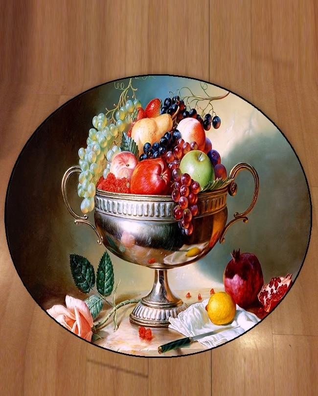 Else czerwone jabłka zielone winogrona różowe róże owoce 3d wzór wydruku antypoślizgowe powrót okrągłe dywany dywan do składania dla salony łazienka