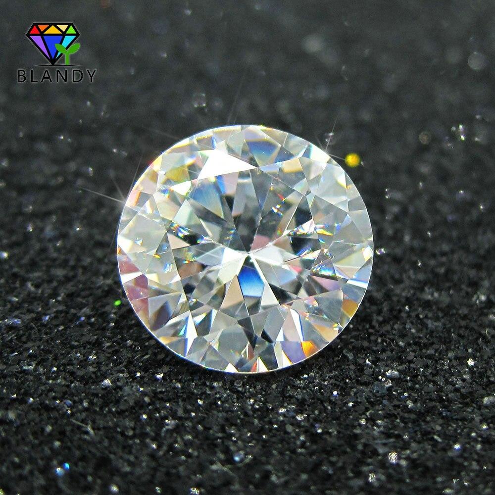 100 unids/lote 5A calidad 0,8 ~ 3,0mm suelta CZ piedra brillante redondo corte blanco Zirconia cúbica piedra gemas sintéticas para joyería